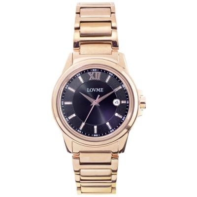 LOVME 經典型男風格時尚手錶-IP玫x黑/42mm
