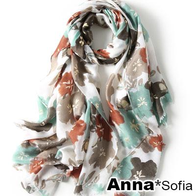 AnnaSofia 暈染花樣金蕊毛邊 柔軟披肩圍巾(綠紅咖系)
