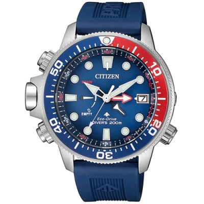 CITIZEN星辰 光動能深海可樂泰坦潛水錶(BN2038-01L)-紅x藍/46.1mm