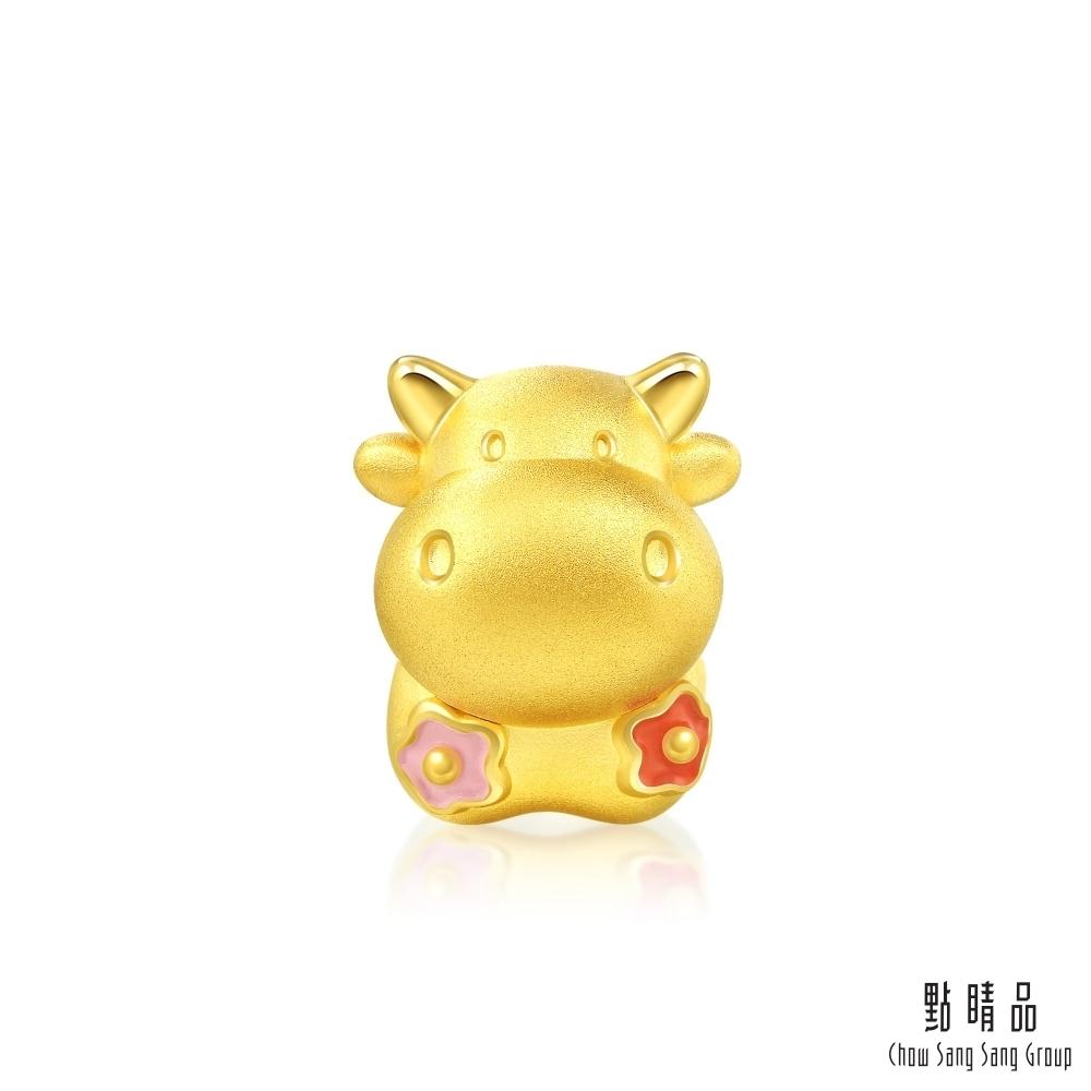 點睛品 999純金 Charme 花開富貴牛 黃金串珠
