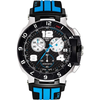 TISSOT T-Race MotoGP 專業限量賽車計時腕錶-黑x藍/45mm