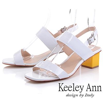 Keeley Ann簡約一字帶 牛漆皮中粗跟後帶扣涼鞋(白色-Ann系列)