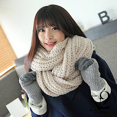 圍巾 純色厚保暖粗針織圍巾(米白)N2