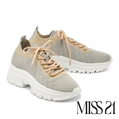 休閒鞋 MISS 21 菱格飛織布縮口鋸齒綁帶厚底休閒鞋-灰