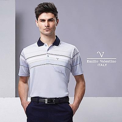 Emilio Valentino都會型男經典橫紋POLO衫_黑灰紅15-9V2903