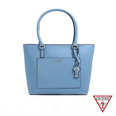 GUESS-女包-簡約素面手提托特包-藍 原價3090