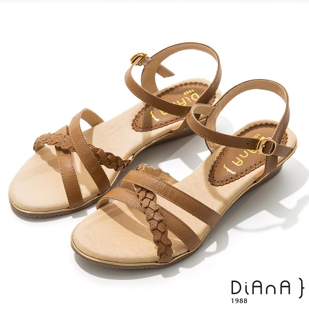 DIANA 3.5cm 質感牛皮編織線條交織楔型涼鞋-咖啡糖