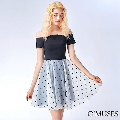 OMUSES 一字領拼接歐根紗洋裝