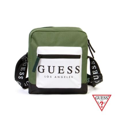 GUESS-男包-時尚撞色經典LOGO斜背包-綠
