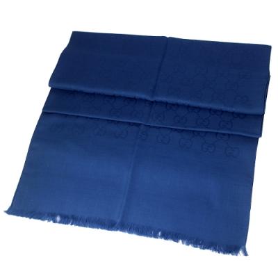 GUCCI 藍色 G LOGO羊毛混紡圍巾