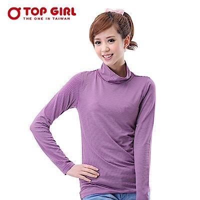 【TOP GIRL】半高領條紋咖啡炭熱感T恤 - 淺紫