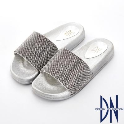 DN 隨性風格 滿版水鑽寬版一字彈力涼拖鞋-銀