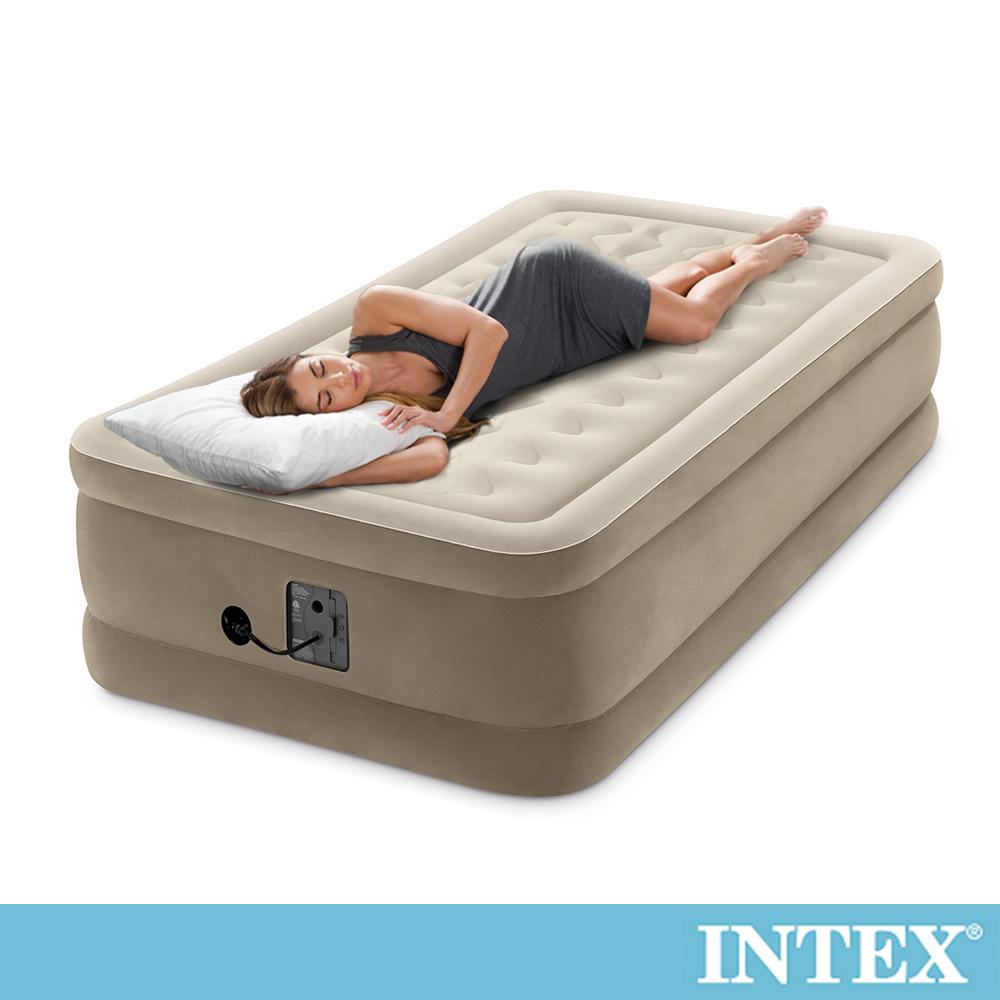 INTEX超厚絨豪華大充氣床-寬99cm(內建幫浦-fiber tech)(64455)
