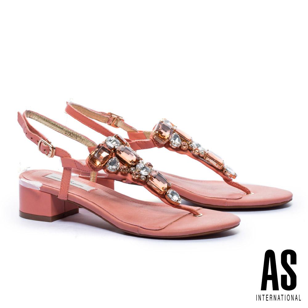 涼鞋 AS 閃耀奢華寶石水鑽T字低跟涼鞋-橘