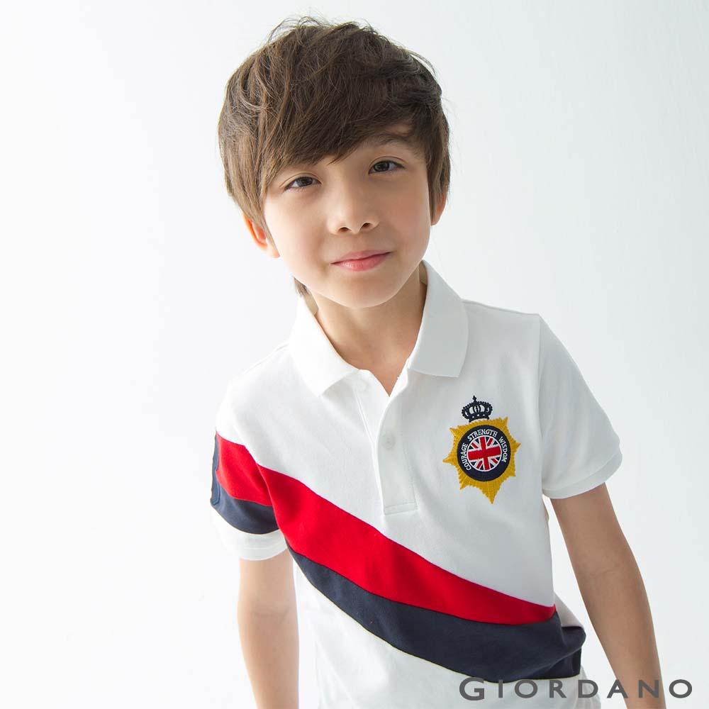 GIORDANO 童裝UNION JACK系列短袖POLO衫-37 標誌白 @ Y!購物