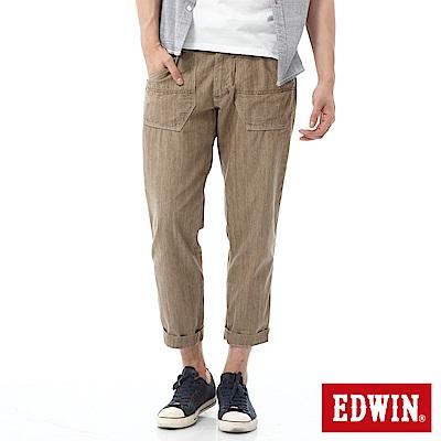 EDWIN EASY PANTS七分休閒褲-男-淺卡其
