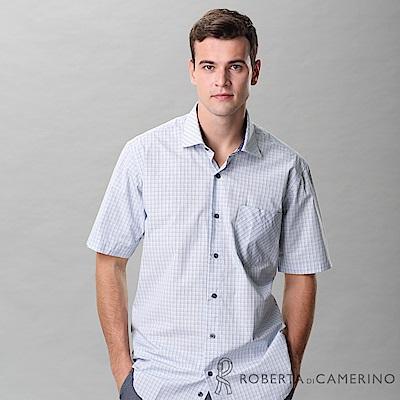 ROBERTA諾貝達 台灣製  進口素材 清爽格紋 短袖襯衫 藍色