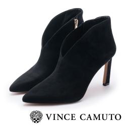 VINCE CAMUTO 性感V字麂皮高跟尖頭踝靴-絨黑色