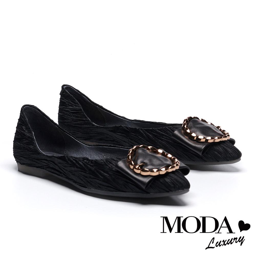 平底鞋 MODA Luxury 奢華動人金屬圓釦裝飾緞布平底鞋-黑