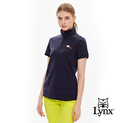【Lynx Golf】女款內刷毛俏皮帽T口袋款短袖立領POLO衫-深藍色