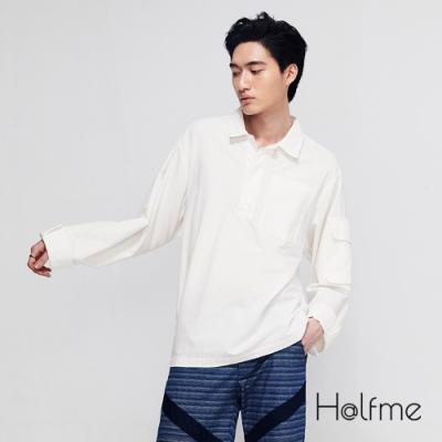 Halfme-寬版側邊拉鍊襯衫-男