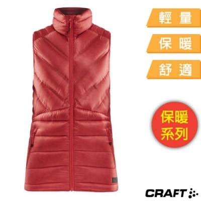 Craft 女 超輕防潑水高彈性保暖羽絨背心(質輕鎖溫)_紅色