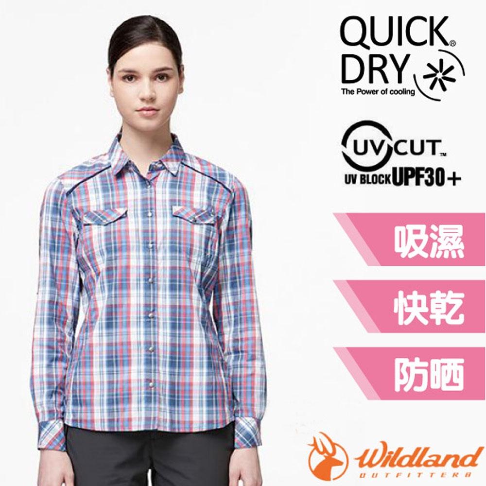 荒野 WildLand 女新款 彈性抗UV格子長袖襯衫.休閒排汗衫_深藍色