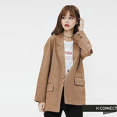 H:CONNECT 韓國品牌 女裝-純色棉麻西裝外套-棕