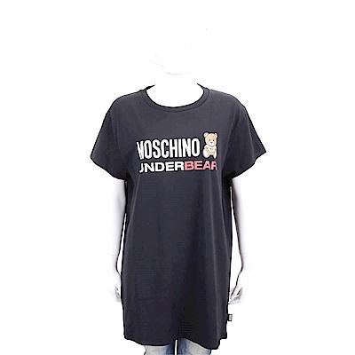 MOSCHINO Underbear 字母泰迪熊寶寶黑色棉質長版短袖T恤