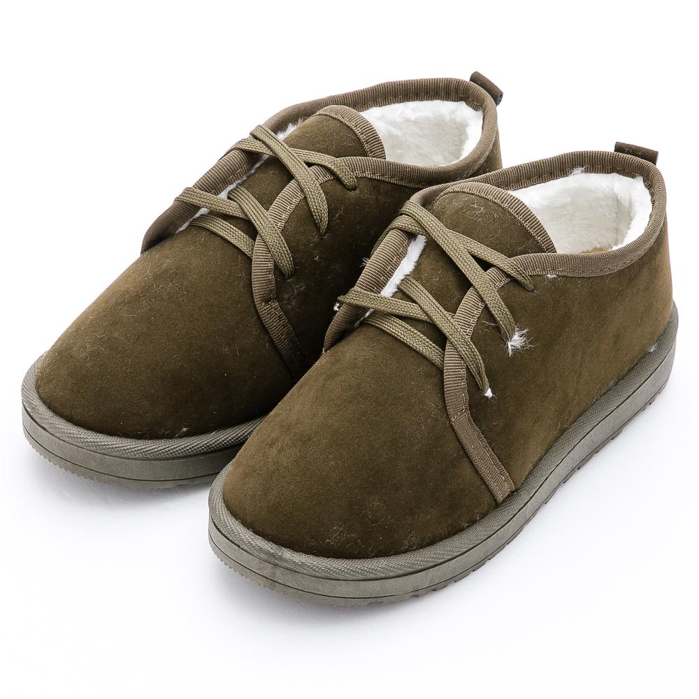 River&Moon雪靴-暖呼呼鋪毛俏麗綁帶Q軟底短靴-墨綠 @ Y!購物