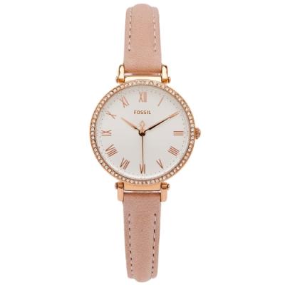 FOSSIL 鑽鑲羅馬風皮革女性手錶(ES4445)-白面X粉色/28mm
