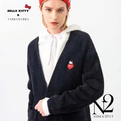 外套 V領刺繡KITTY開襟單排釦長袖長版毛呢外套(墨色)N2