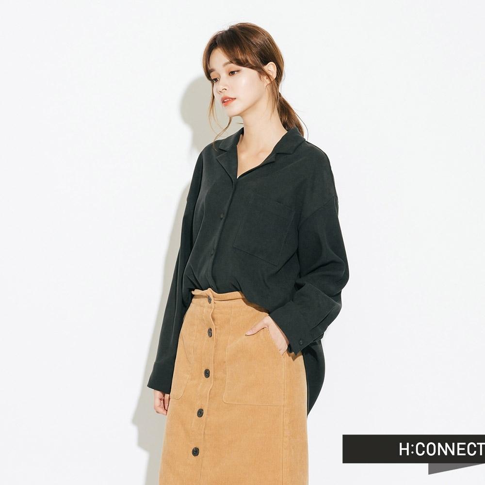 H:CONNECT 韓國品牌 女裝-絨面單口袋襯衫-綠