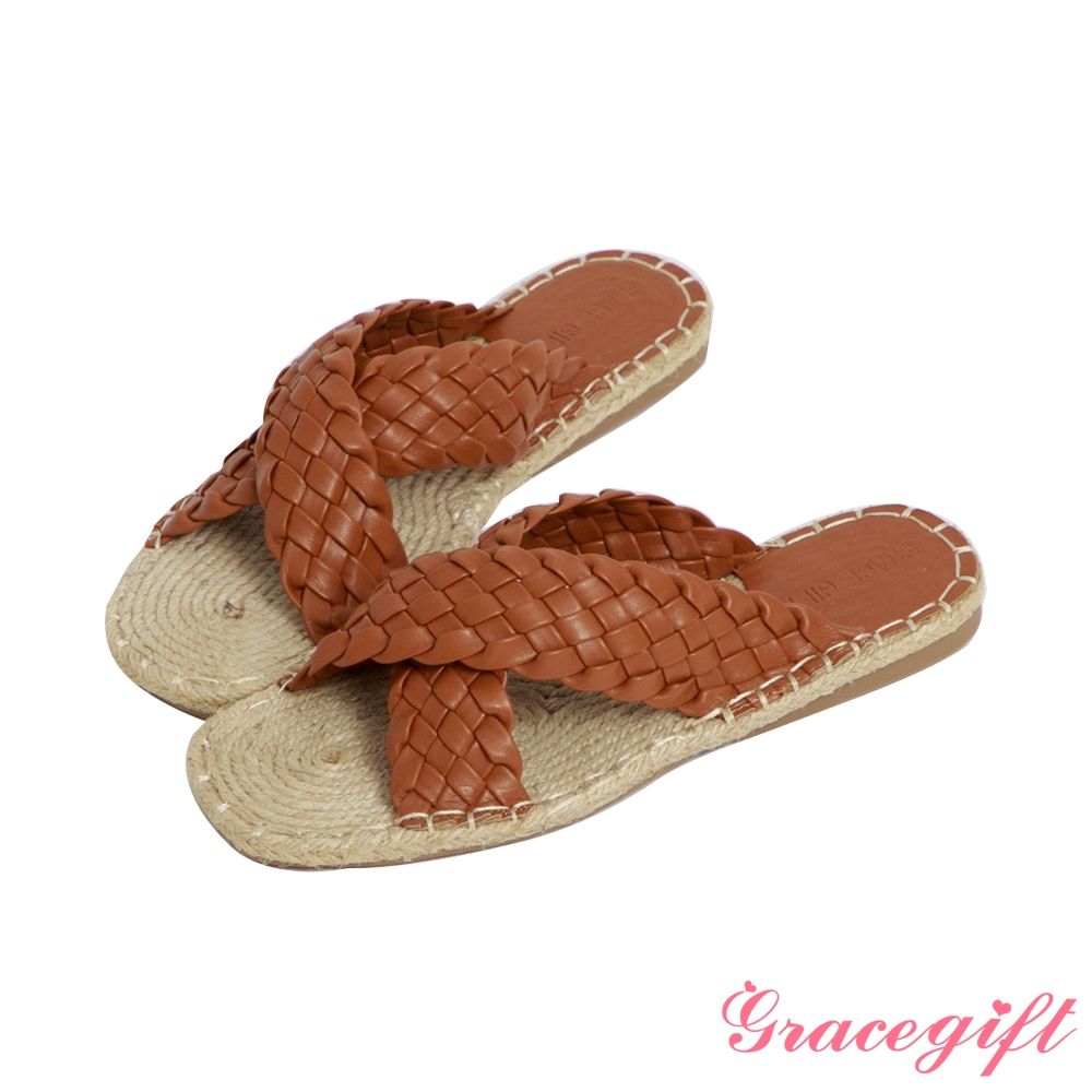 Grace gift-交叉麻編平底涼拖鞋 棕