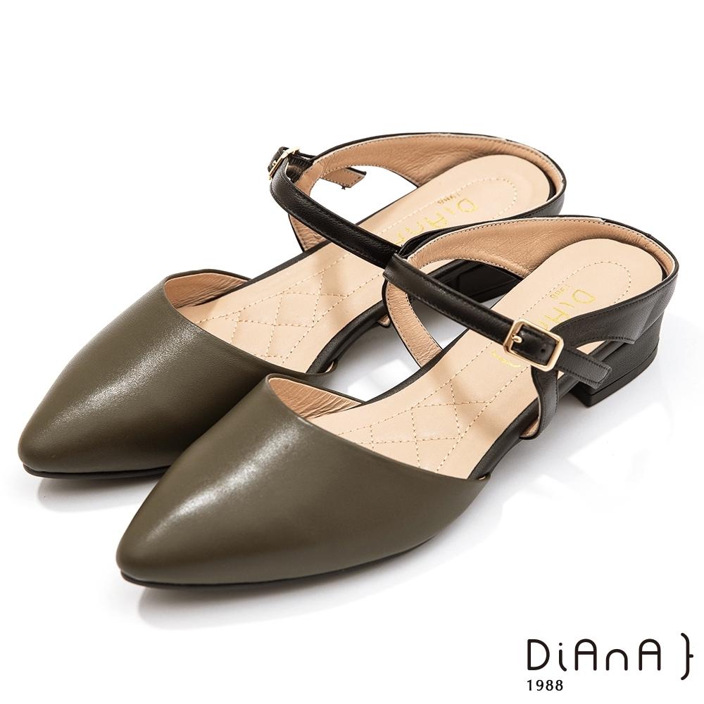 DIANA 3.5cm–復古材質千鳥格紋繫微尖頭穆勒跟鞋古董LADY–抹茶綠