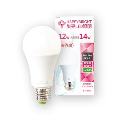 HAPPY BRIGHT 樂亮 12W LED燈泡-暖光色4000K/E27燈頭/CNS認證