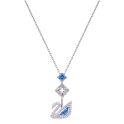SWAROVSKI施華洛世奇 DAZZLING SWAN 藍色水晶項鍊