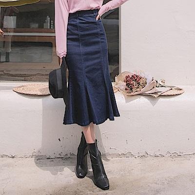 剪接設計後腰頭鬆緊牛仔魚尾長裙-OB大尺碼