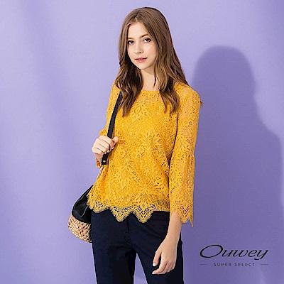OUWEY歐薇 花卉蕾絲寬版兩件式上衣(黃)