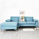Homelike 愛麗絲L型亞麻布沙發(湖水藍)-242x160x81cm