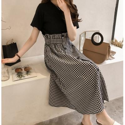 2F韓衣-簡約素面上衣腰帶排扣長裙套裝-2色(M-2XL)