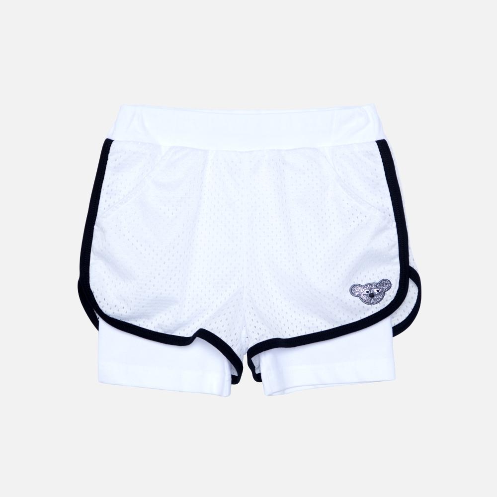WHY AND 1/2 假兩件運動透氣網短褲 多色可選 5Y ~ 10Y (白色)
