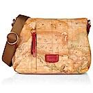 Alviero Martini 義大利地圖包 PU帆布側背包(中)-紅/地圖黃