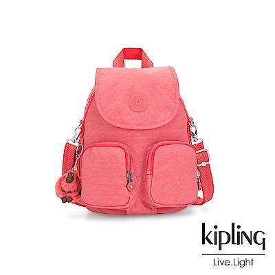 Kipling 甜美蜜桃橘素面掀蓋後背包-FIREFLY UP