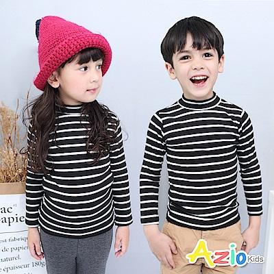 Azio Kids 上衣 磨毛條紋長袖保暖衣(黑底白條)