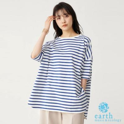 earth music 定番橫條紋落肩純棉短袖T恤