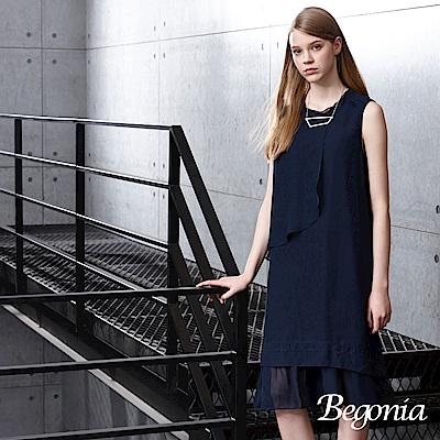 Begonia 層次荷葉襬無袖雪紡洋裝(共兩色)