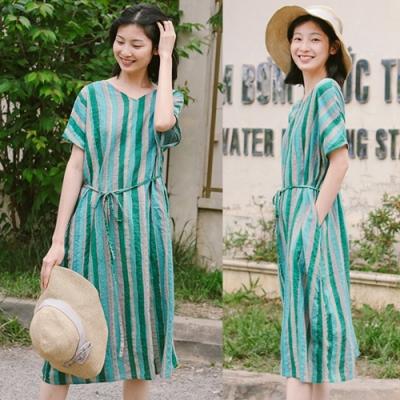 洋裝-全棉配腰帶綠色條紋大碼直筒寬鬆長裙-設計所在