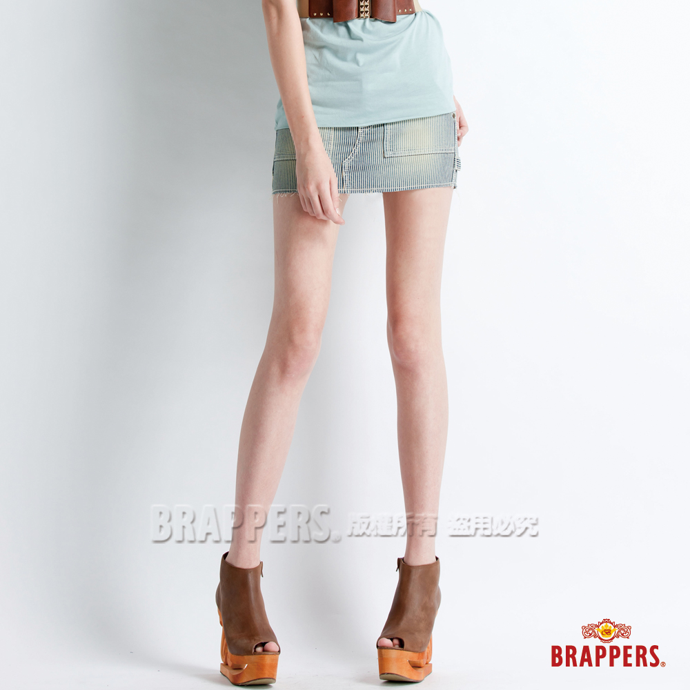 BRAPPERS 女款  Boy Friend Jeans系列-女用迷你裙-藍白橫條 product image 1