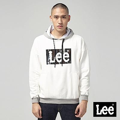 Lee 鏤空亮片LOGO長袖連帽TEE/RG牙白
